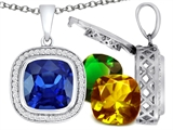 Switch-It Gems Cushion Cut 12mm Simulated Sapphire Pendant with 12 Interchangeable Simulated Birthstones