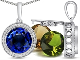 Switch-It Gems Interchangeable Simulated Sapphire Pendant Set with 12 Round 10mm Birthstones Included