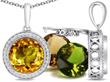 Switch-It Gems™ Interchangeable Simulated Citrine Pendant Set with 12 Round 10mm Birthstones Included