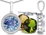 Switch-It Gems Interchangeable Simulated Aquamarine Pendant Set with 12 Round 10mm Birthstones Included