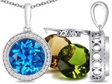 Switch-It Gems™ Interchangeable Simulated Blue Topaz Pendant Set with 12 Round 10mm Birthstones Included