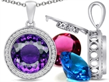 Switch-It Gems™ Interchangeable Simulated Amethyst Pendant Set with 12 Round 12mm Birthstones Included