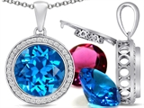 Switch-It Gems Interchangeable Simulated Blue Topaz Pendant Set with 12 Round 12mm Birthstones Included