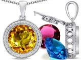 Switch-It Gems Interchangeable Simulated Citrine Pendant Set with 12 Round 12mm Birthstones Included
