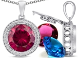 Switch-It Gems™ Interchangeable Simulated Ruby Halo Pendant Necklace Set Round 12mm Simulated Birth Months Included style: 308029