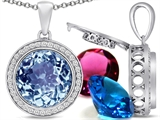 Switch-It Gems Interchangeable Simulated Aquamarine Pendant Set with 12 Round 12mm Birthstones Included