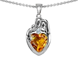 Original Star K™ Loving Mother And Father With Child Family Pendant With Heart Shape 8mm Genuine Citrine