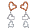 Original Star K™ Dangling Heart with Simulated Orange Mexican Fire Opal Heart Earrings