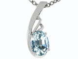 Tommaso Design Oval 7x5mm Genuine Aquamarine Pendant