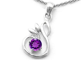 Original Star K Round Genuine Amethyst Swan Pendant