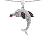 Original Star K Love Dolphin Pendant With Round Created Ruby