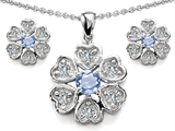 Original Star K Simulated Aquamarine Flower Pendant Box Set With Matching Earrings