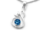 Original Star K Round Genuine Blue Topaz Swan Pendant