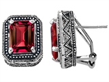 Original Star K Bali Style Emerald Cut Created Ruby Earrings