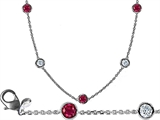 Original Star K 18 Inch Gems By The Yard Necklace With Cubic Zirconia And Created Ruby