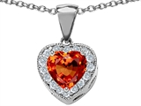 Original Star K™ 8mm Heart Shape Simulated Orange Mexican Fire Opal Heart Pendant