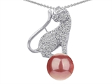 Original Star K™ Cat Pendant With Round 10mm Simulated Pink Pearl