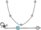 Original Star K 16 Inch Gems By The Yard Necklace With Round Simulated Aquamarine