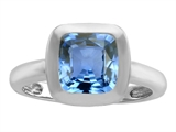 Star K™ 8mm Cushion Cut Solitaire Ring With Simulated Aquamarine style: 308073