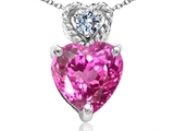 Tommaso Design 8mm Heart Shape Created Pink Sapphire and Diamond Pendant