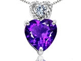 Tommaso Design 8mm Heart Shape Genuine Amethyst and Diamond Pendant
