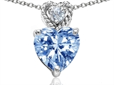 Tommaso Design™ 8mm Heart Shape Simulated Aquamarine and Diamond Pendant