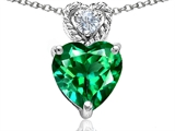 Tommaso Design 8mm Heart Shape Simulated Emerald and Diamond Pendant