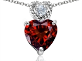 Tommaso Design 8mm Heart Shape Genuine Garnet and Diamond Pendant