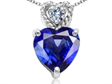 Tommaso Design 8mm Heart Shape Created Sapphire and Diamond Pendant