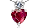 Tommaso Design 8mm Heart Shape Created Ruby and Diamond Pendant