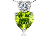 Tommaso Design 8mm Heart Shape Genuine Peridot and Diamond Pendant