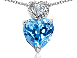 Tommaso Design 8mm Heart Shape Genuine Blue Topaz and Diamond Pendant