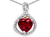Original Star K Rope Design 10mm Heart Shape Created Ruby Heart Pendant