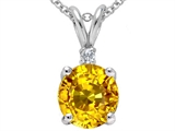 Tommaso Design Round Genuine Yellow Orange Sapphire and Diamond Pendant