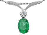 Tommaso Design Oval 7x5mm Genuine Emerald and Diamond Pendant