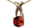 Tommaso Design™ X Shape Designer Inspired Pendant with Diamond and Checkerboard Cut Genuine Garnet