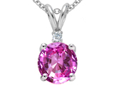 Tommaso Design™ Round 8mm Created Pink Sapphire and Genuine Diamond Pendant style: 308099