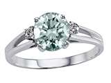 Tommaso Design™ Genuine Aquamarine Round 7mm and Diamonds Ring