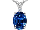 Tommaso Design Large Oval Created Sapphire and Genuine Diamond Pendant