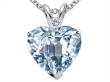 Tommaso Design™ 8mm Heart Shape Simulated Aquamarine and Diamond Pendant style: 308103