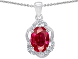 Tommaso Design Oval 7x5mm Created Ruby and Diamond Pendant