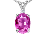 Tommaso Design Large Oval Created Pink Sapphire and Genuine Diamond Pendant