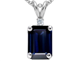 Tommaso Design Emerald Cut Genuine Sapphire and Diamond Pendant