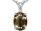 Tommaso Design™ Oval 12x10 mm Genuine Smoky Quartz And Diamond Pendant style: 308116