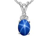 Tommaso Design™ Oval 8x6mm Created Star Sapphire and Genuine Diamond Pendant style: 308118