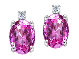 Tommaso Design Oval Created Pink Sapphire and Genuine Diamonds Earrings