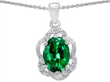 Tommaso Design Oval 7x5mm Simulated Emerald and Diamond Pendant
