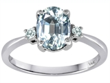 Tommaso Design 8x6mm Oval Genuine Aquamarine and Diamond Engagement Ring