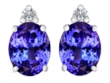 Tommaso Design ™ 8x6mm Oval Simulated Tanzanite and Diamonds Earring Studs