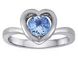 Original Star K™ Heart Engagement Promise of Love Ring with 7mm Round Simulated Aquamarine style: 308128